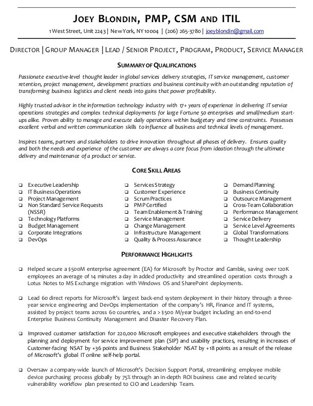 Executive Resume & CV Joey Blondin