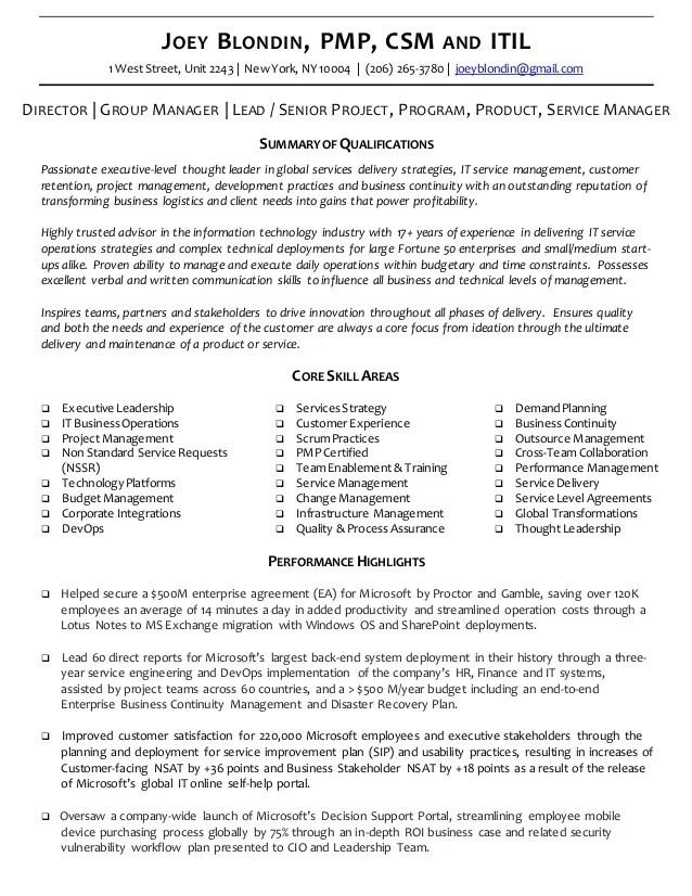 Executive Resume  CV  Joey Blondin