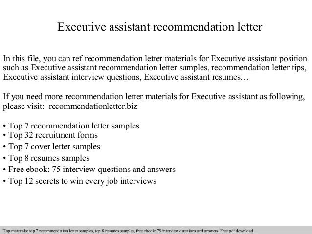 Executive Assistant Recommendation Letter
