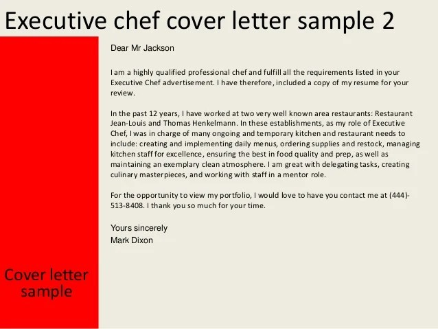 Executive chef cover letter