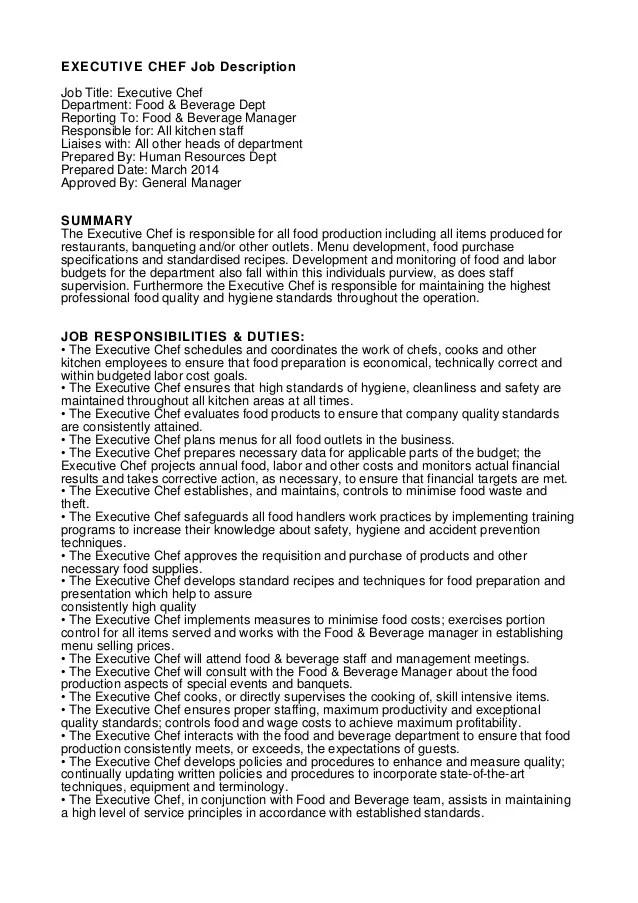 Executive Chef Job Description
