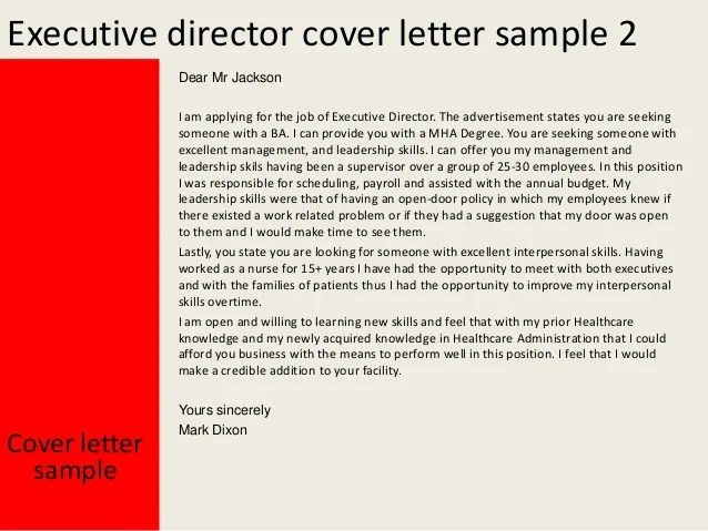 Executive director position cover letter  Director Suggestions