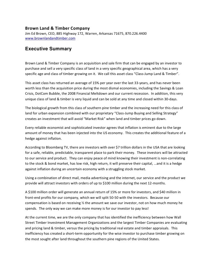 Brown Land Amp Timber Company 2011 Executive Summary