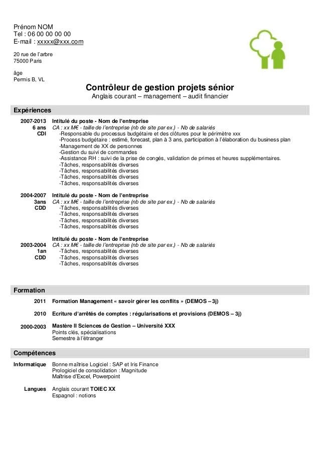 modele cv controleur de gestion senior
