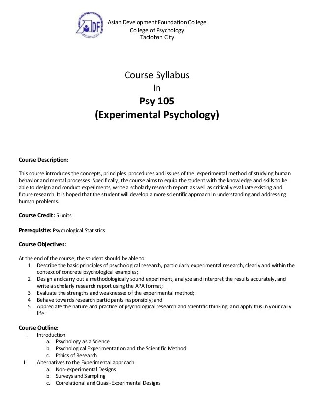 Experimental Psychology Syllabus