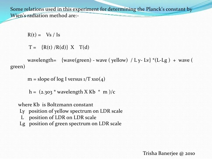Experiment if plancks constant