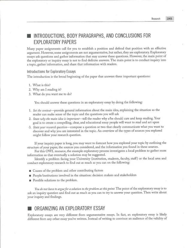 Exploratory Essay Pre Writing Materials And Sample Essay
