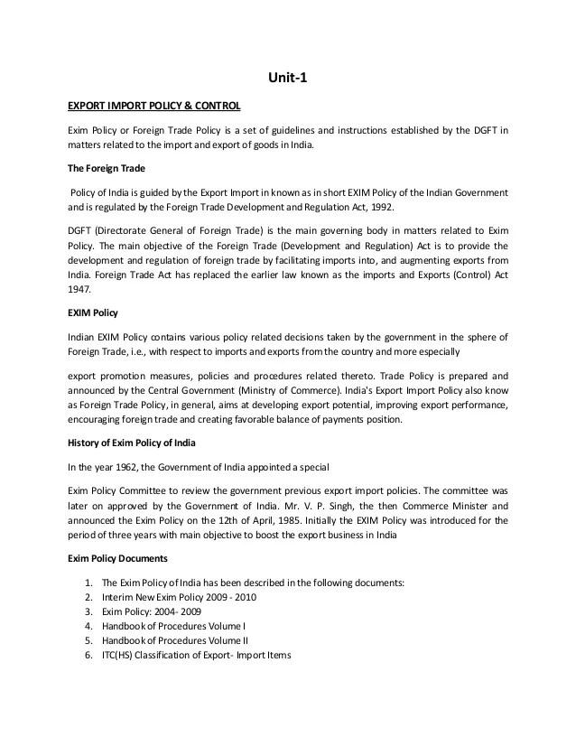 Export Import Procedures Documentation & Logistics