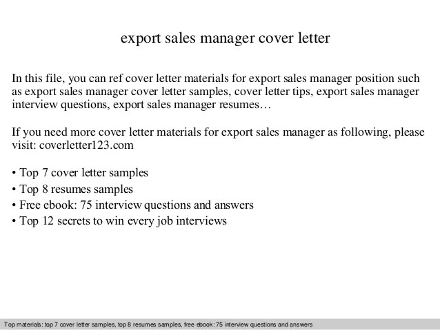 Export sales manager cover letter