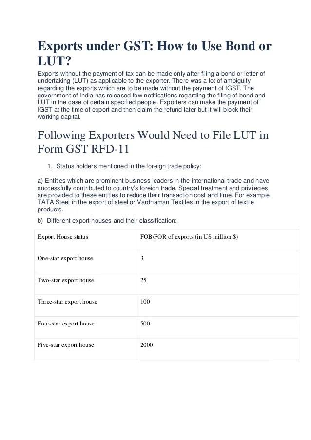 Exports under GST  LUT  Bond