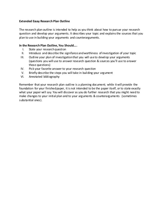 Extended Essay Research Plan Paper Prospectus