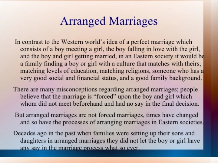opinion essay arranged marriages essay Arranged marriage is a type of marital union where the bride and groom are  selected by  choice, culture and the politics of belonging: the emerging law  of forced and arranged marriage, the modern law review, volume 72, issue 3, .