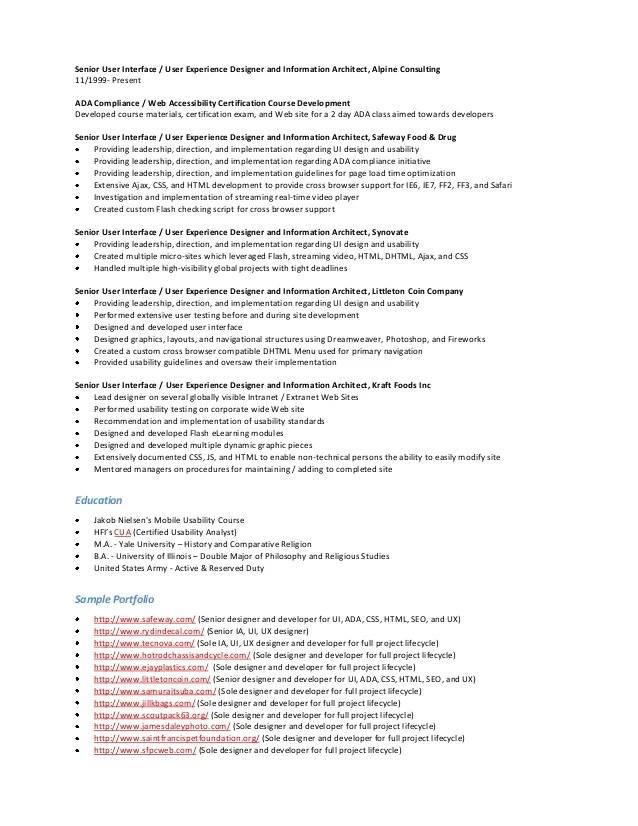 Ui Architect Sample Resume User Experience Architect Sample