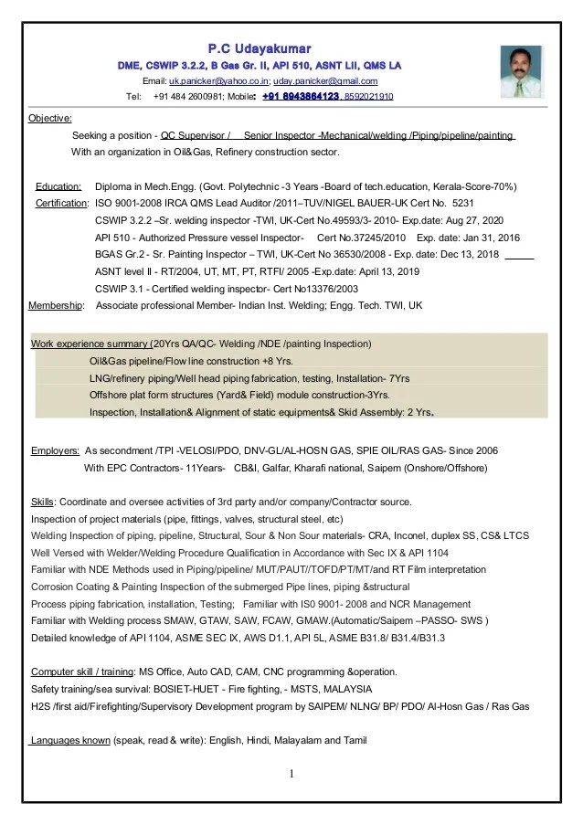 Resume Sr QC Inspector Mech Welding Painting Piping Pipeline
