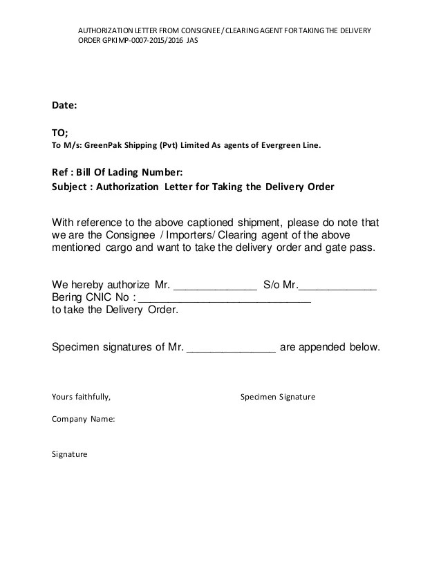 7 Authorization Letter From Consignee Clearing Agent For