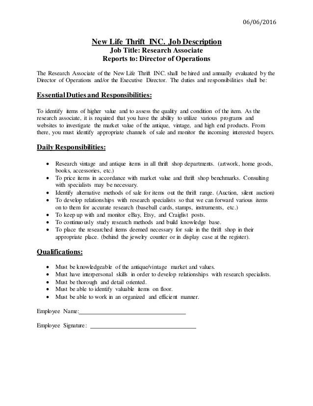 Research Associate Job Description