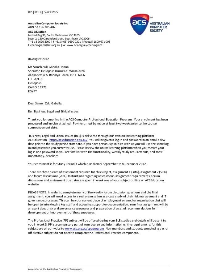 ACS Enrolment Letter Sameh Hanna