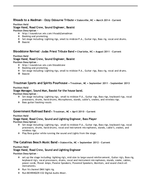 Stagehand Resume Examples Examples of Resumes