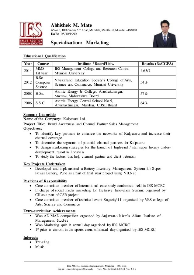 resume model for be students