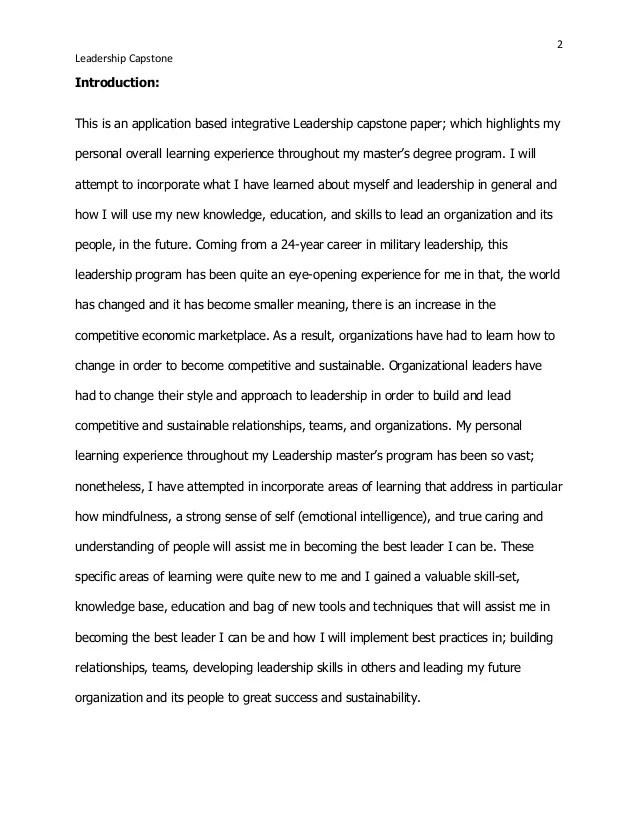 Leadership Capstone Final Reflective Paer