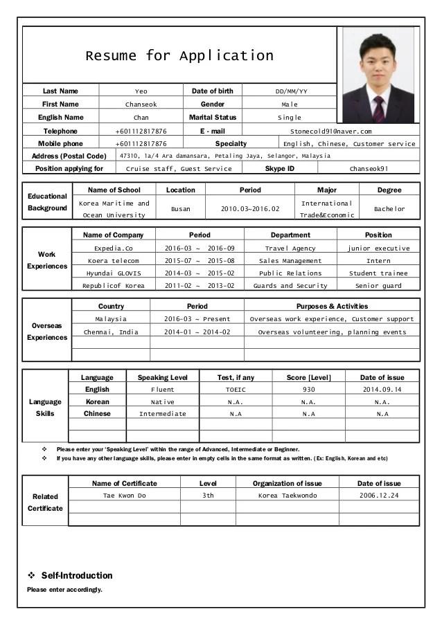 resume for university application