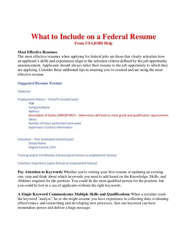 What To Include On A Federal Resume BOP