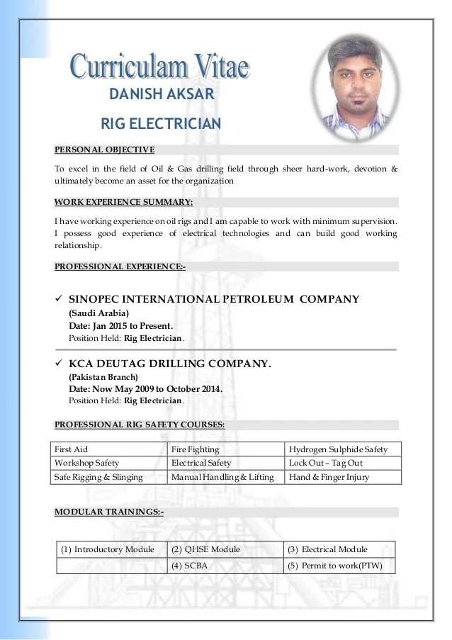 Free Cv Templates For Electricians | Sample Customer Service ...