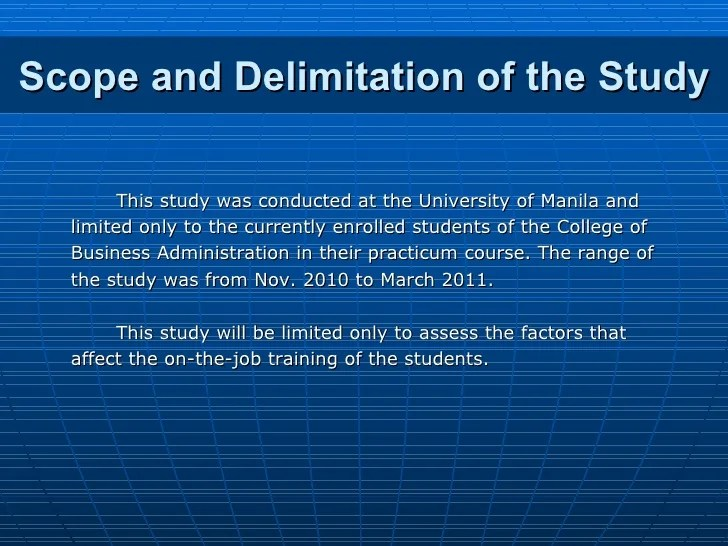 Example Scope Delimitation Research Paper