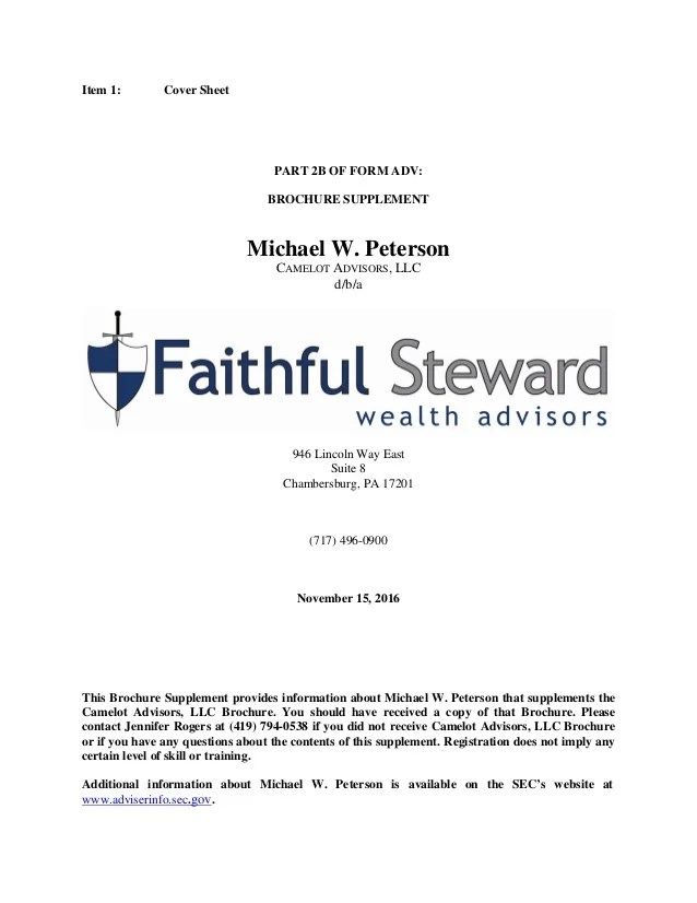 Faithful Steward Wealth Advisors Form ADV Part 2