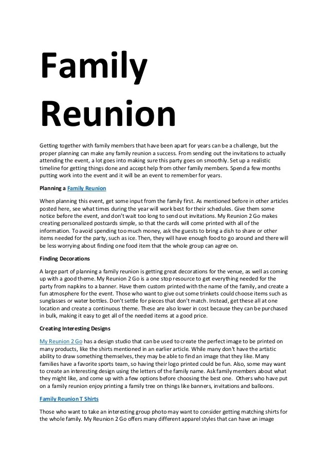 Sample Family Reunion Letters : sample, family, reunion, letters, Family, Reunion