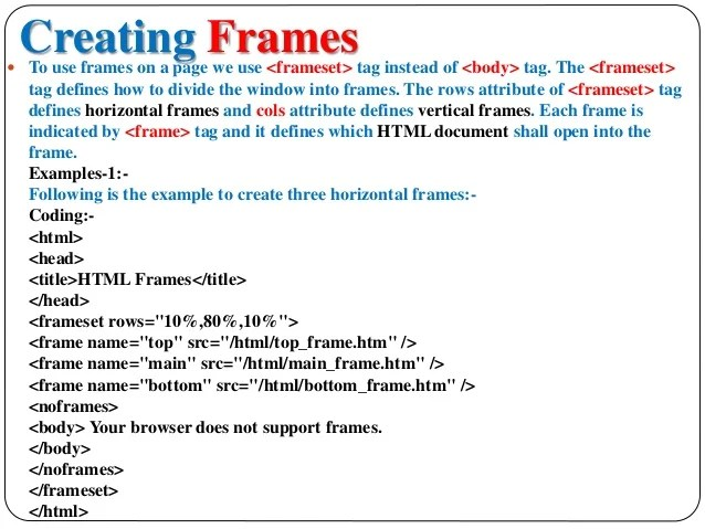 Create Frameset In Html | Frameimage.org