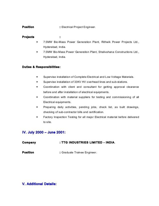 CV - Electrical Estimation Engineer