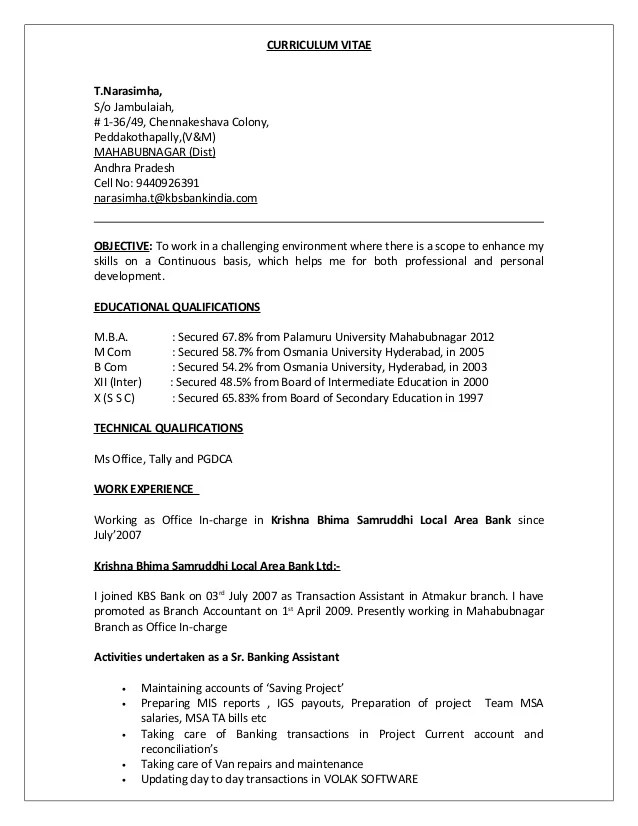 T Narasimha CV And Process Note For Executive Grade New