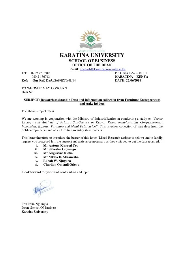 Furniture Research Assistants Introduction Letter 27062014