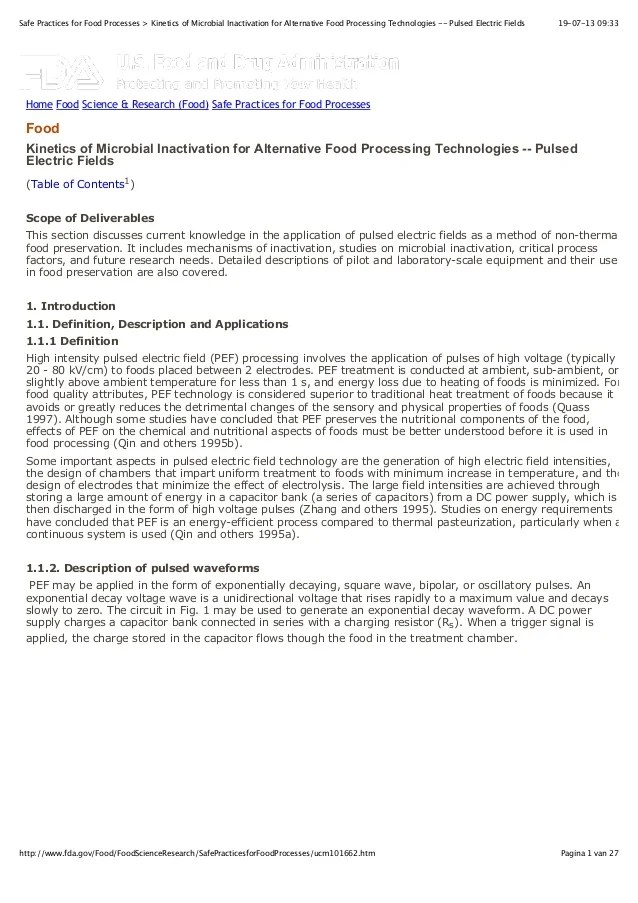 FDA Kinetics Of Microbial Inactivation For Alternative Food Process
