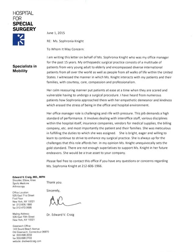 Dr Craigs reference letter