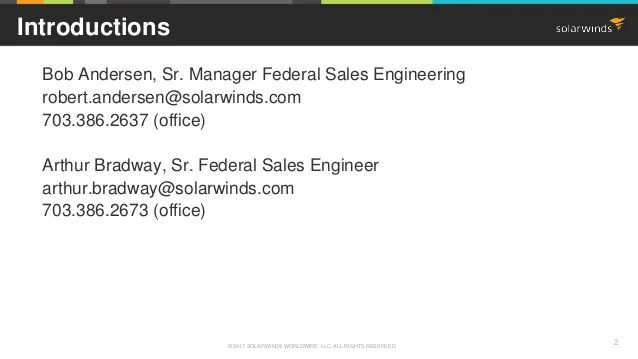 SolarWinds Federal Webinar Technical Update  New Feature Demo May 1
