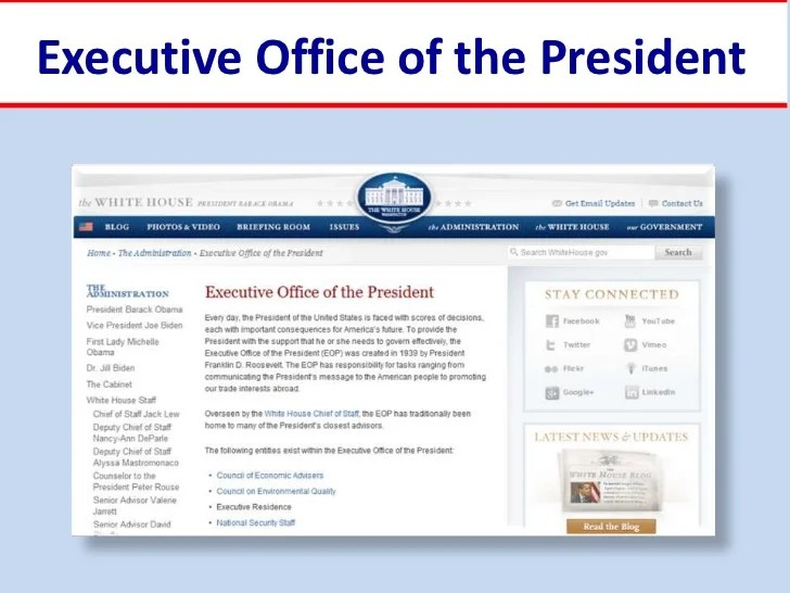 Executive office of the president also rh slideshare