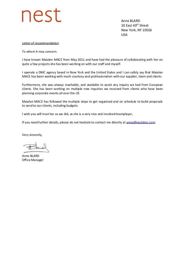Reference Letter Nest DMC