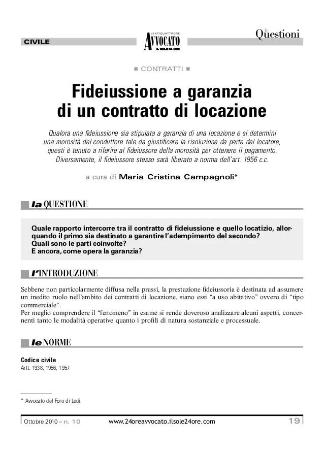 Fideiussione A Garanzia Dei Contratti Di Locazione
