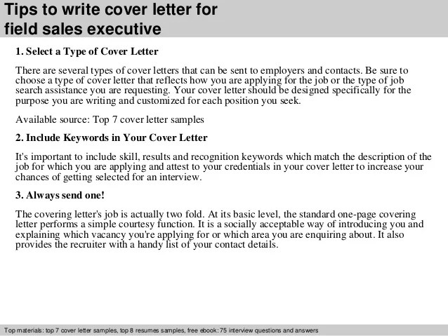 Field sales executive cover letter