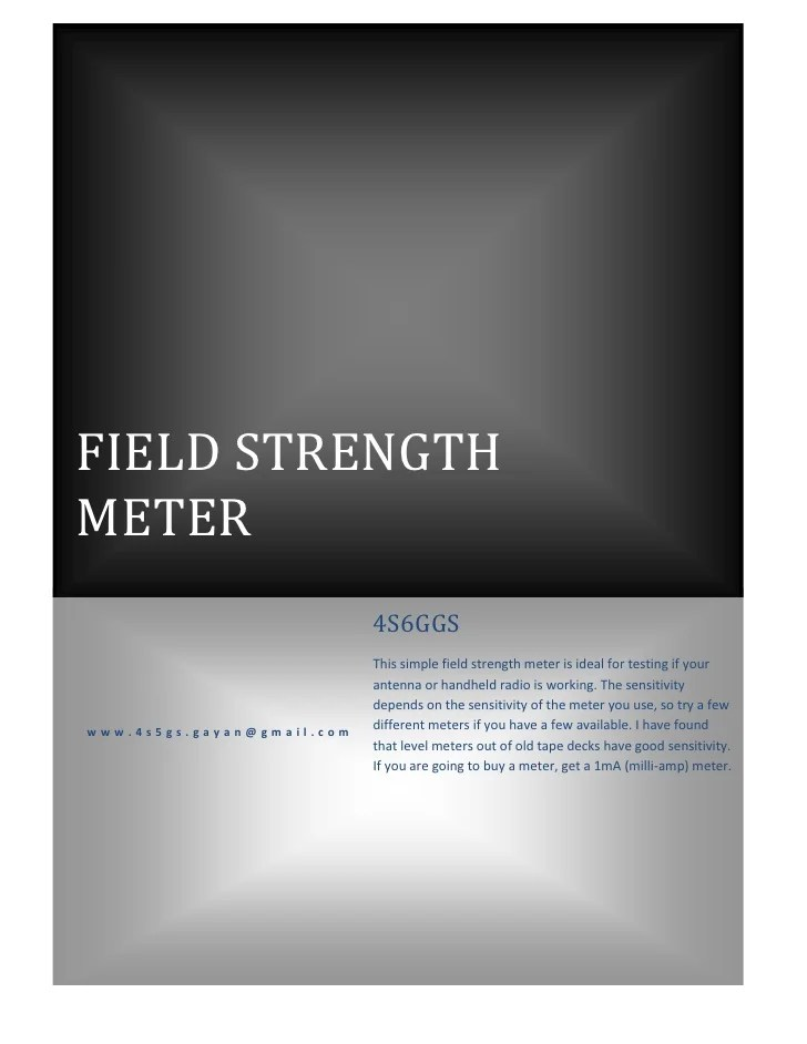 Another Rf Field Strength Meter