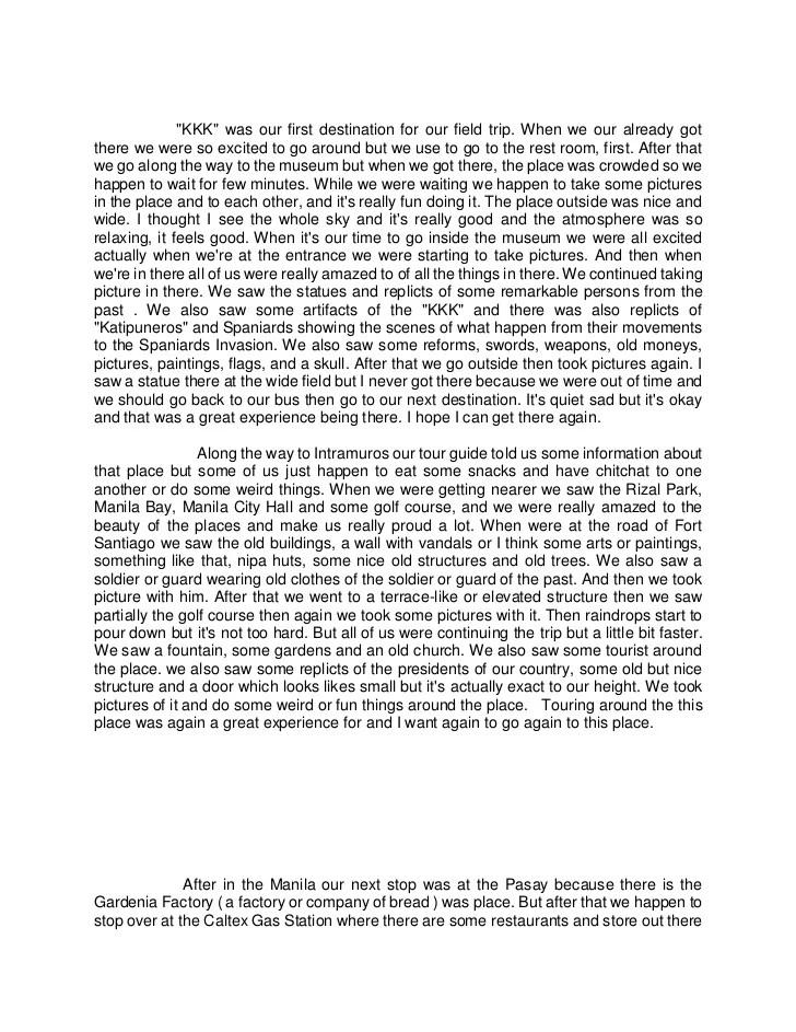 Field Trip Essay Field Trip Reaction Paper Essay On Field Trip