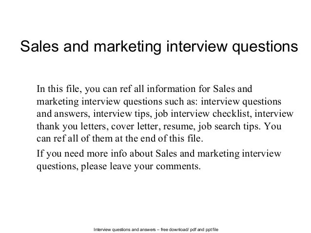 Sales And Marketing Interview Questions