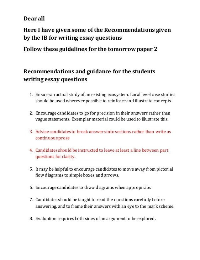 File 5 IB Recommendation For The Essay Questions