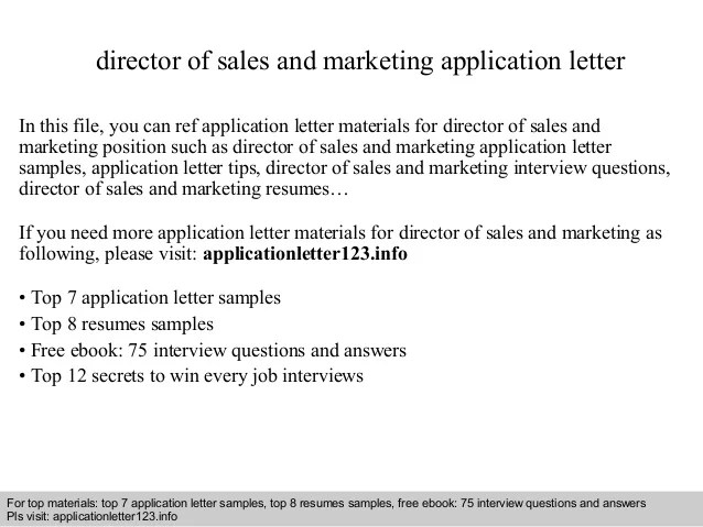 Director Of Sales And Marketing Application Letter