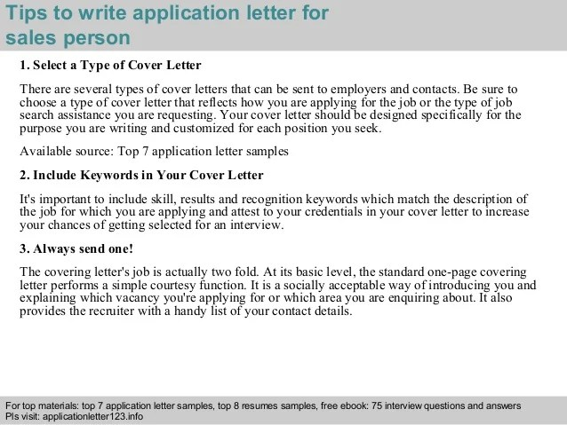 Sales Person Application Letter