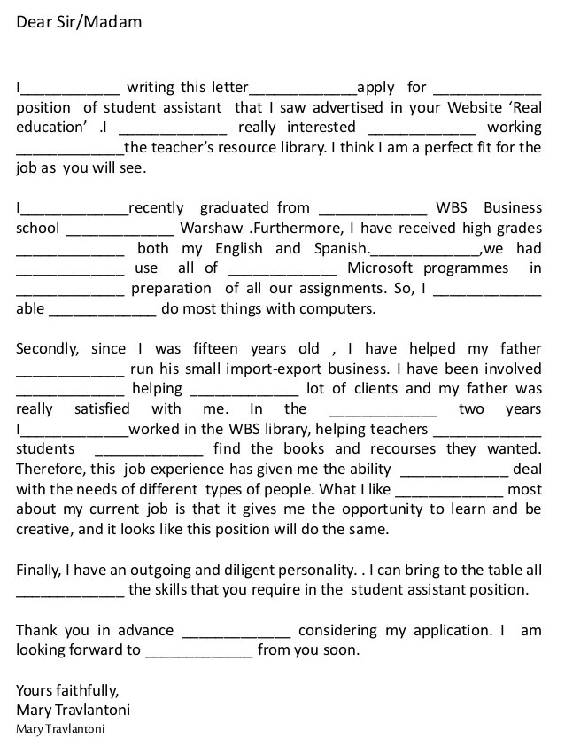 Cover Letter Exercise Science Resume