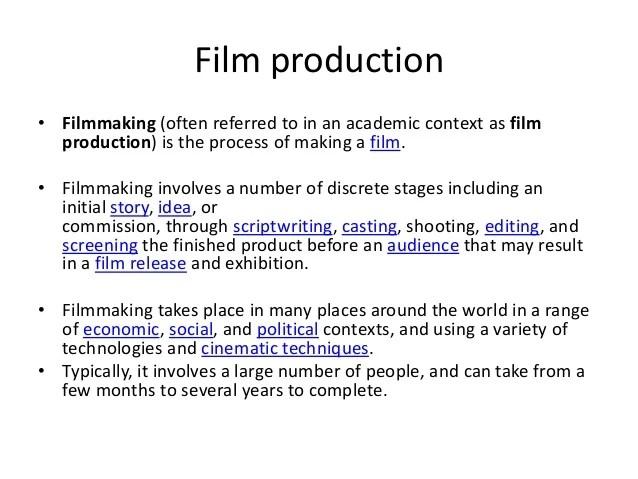 Film development pre production production
