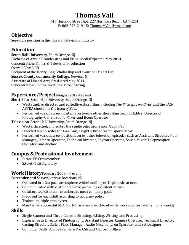 Film & Television Resume